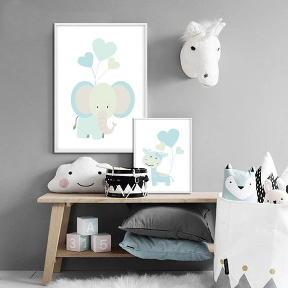 Blue | Lion | Elephant | Giraffe | Canvas