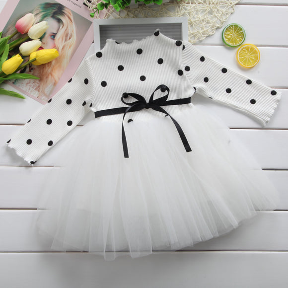 Baby Girl | Dress | Long Sleeve | Bow | Dot - Tods Bay