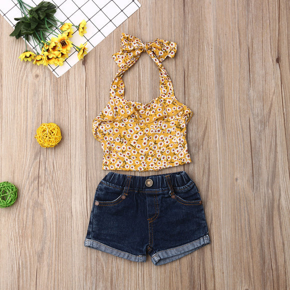 Yellow | Denim | Girl | Flower | Set - Tods Bay