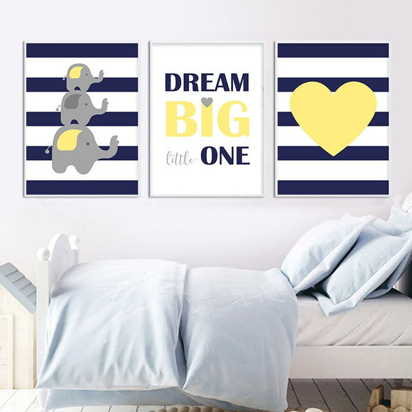 Navy | Blue | Yellow | Nursery | Elephant | Painting