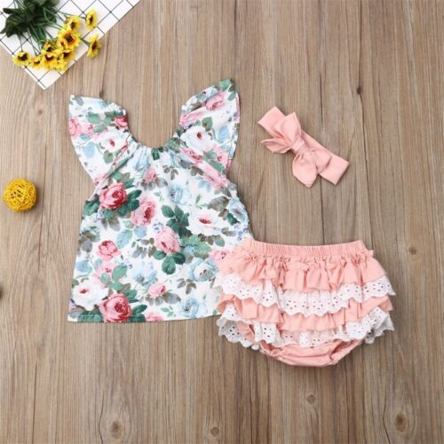 Baby Girl | Floral | 3-Piece | Set | Headband - Tods Bay