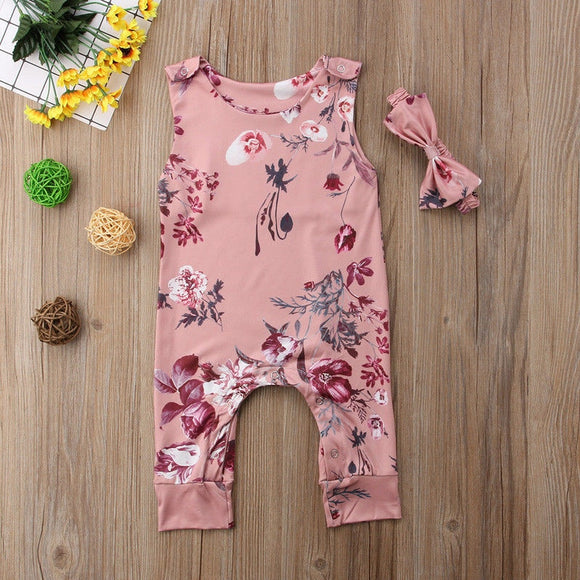 Baby Girls | 2-Piece | Set | Jumpsuit | Headband | Floral - Tods Bay