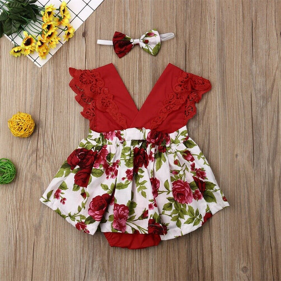 Baby Girl | V-Neck | Dress | 2-Piece | Headband - Tods Bay