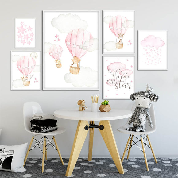 Pink Balloon | Nursery | Girl | Art | Bedroom