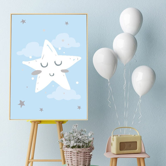 Blue | Moon | Baby | Nursery | Art | Poster