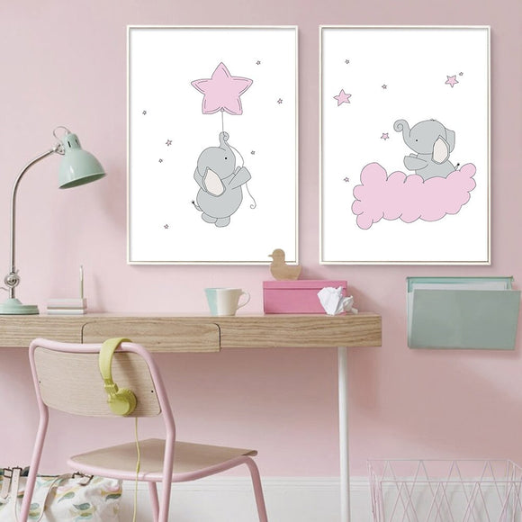 Cartoon | Elephant | Canva | Poster | Pink