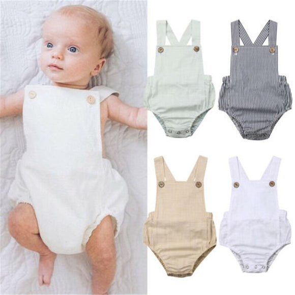Summer Newborn Girl Baby Cotton Button Jumpsuit Romper Outfit