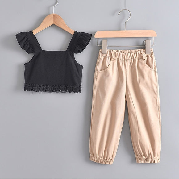 Black & Nude 2-Piece Set Girls Sleeveless Spring Summer Casual