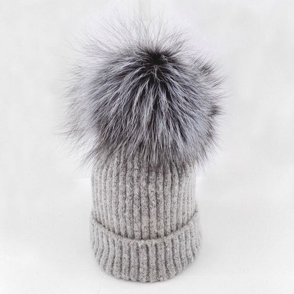 Winter | Hat | Fur | Beanie | Natural | Pom Pom