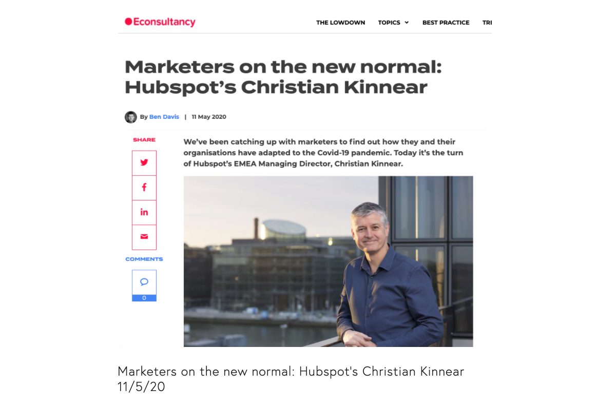 Read how markets have changed their approach due to COVID-19 as told by Hubspot's Christian Kinnear