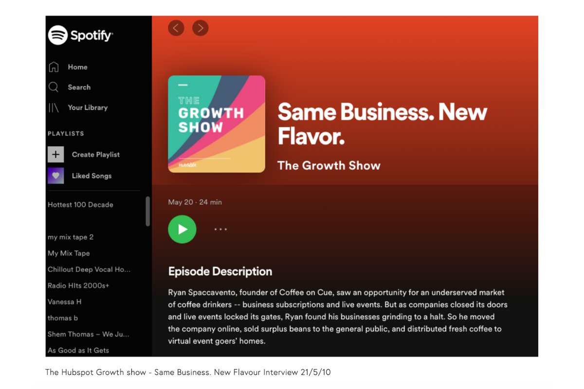 Listen to Ryan Spaccavento, founder from Coffee on Cue as he is featured on The Growth Show: Same Business. New Flavor.