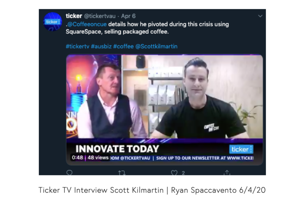 Listen to Ryan Spaccavento, founder of Coffee on Cue, talk of his company's pivot due to COVID-19 on Ticker TV.