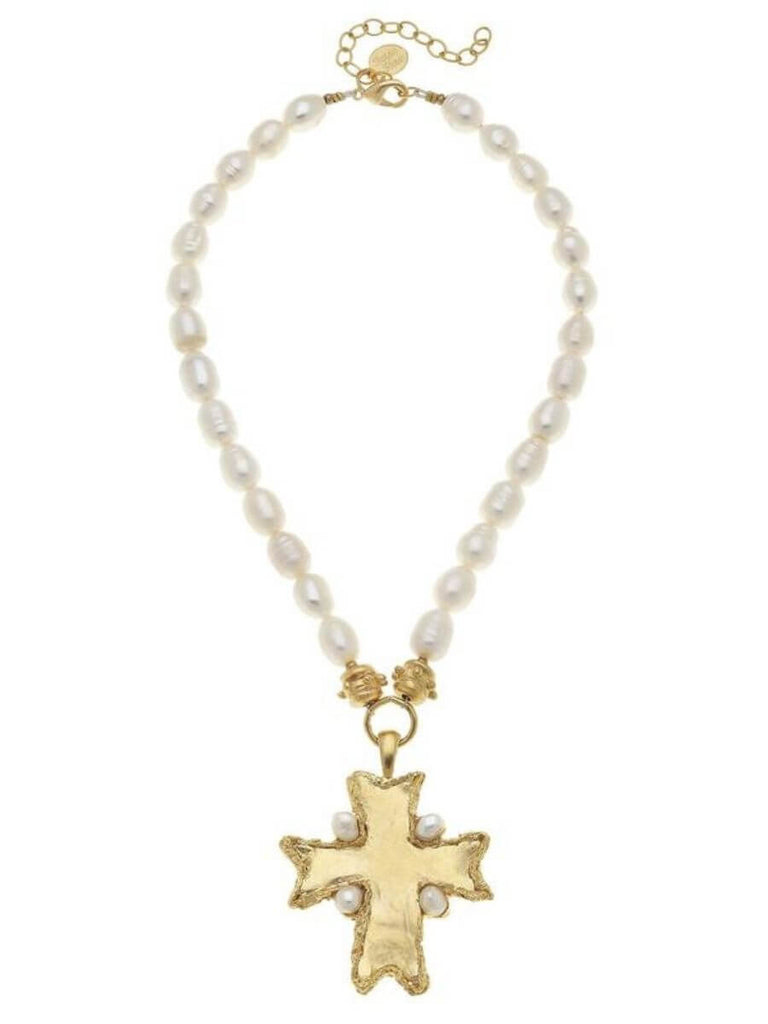 Susan Shaw Flare Cross Necklace
