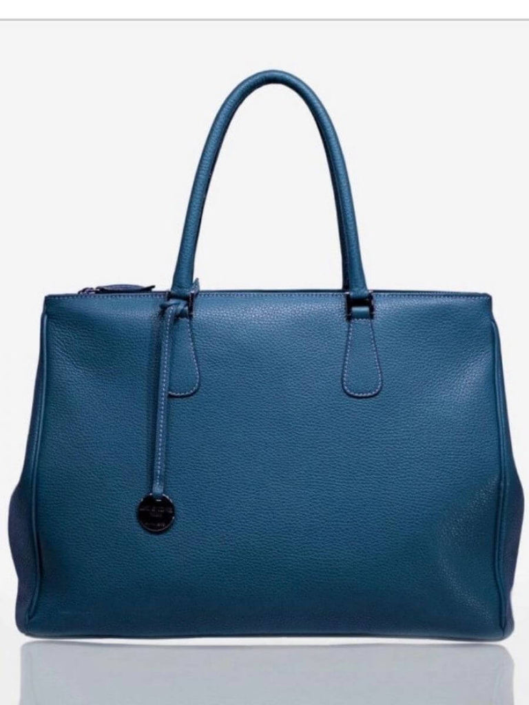 Denim Blue Pebbled Leather Tote