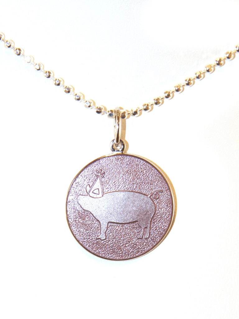 Posh Prep Primary Day School Pink Pig Necklace