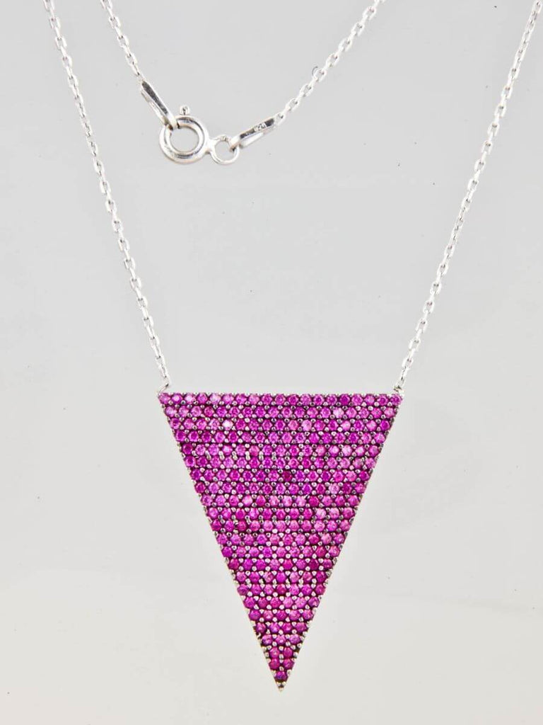 Small Good Vibe Necklaces-Thin Triangle - Pink
