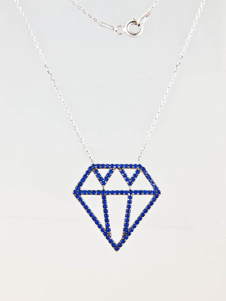 Small Good Vibe Necklaces-Diamond - Navy Blue