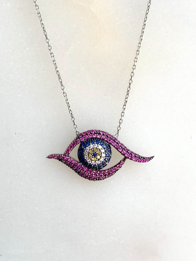 Small Good Vibe Necklaces-Eye - Purple and Blue