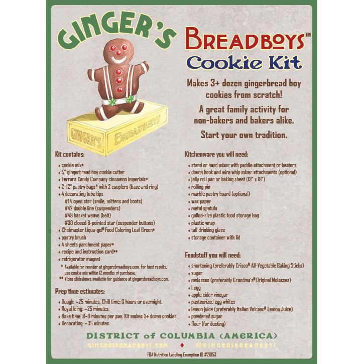 Kit contents for Ginger's Breadboys gingerbread man cookie baking kits.