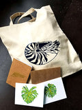 Canvas Tote + Notebook + Monstera Cards