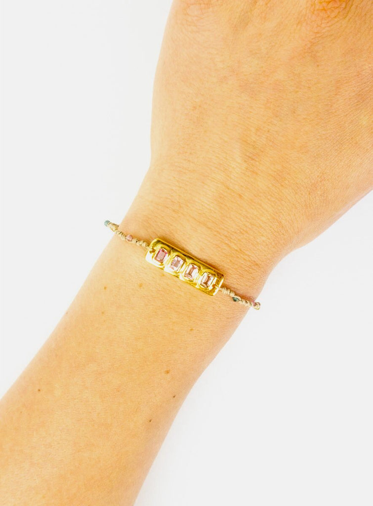 Meredith Plated Gem Bracelet