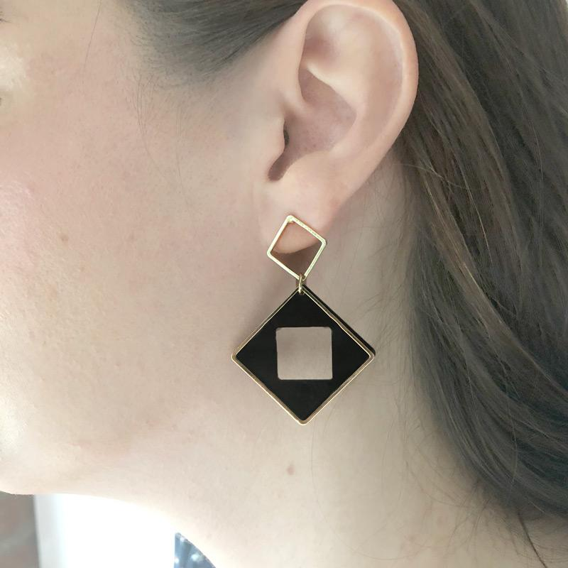 Diamond Square Cut Out Earrings