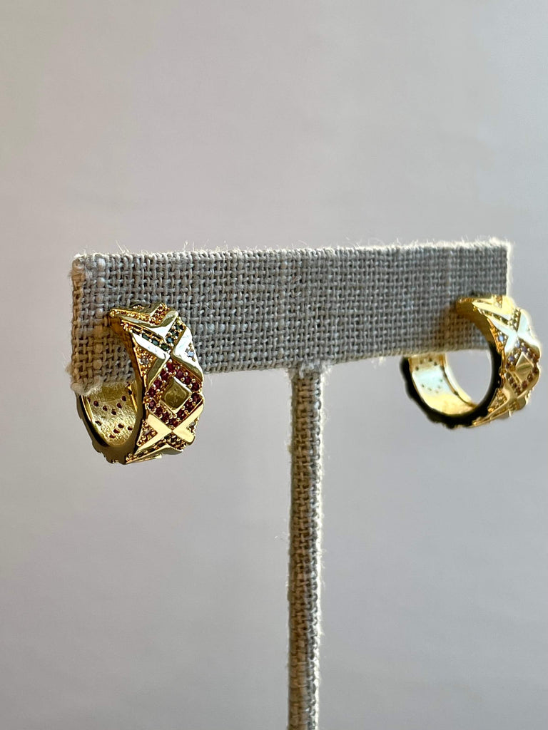 Gold-Plated Half Hoop Earrings