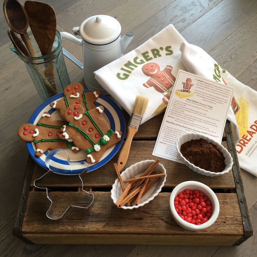 Vintage look gingerbread inspired flour sack kitchen towels from Ginger's Breadboys.
