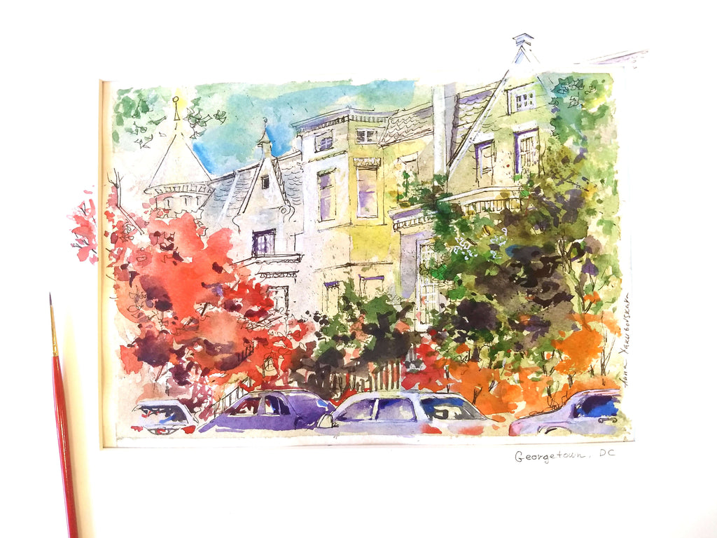 Fall, Georgetown Watercolor