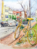 Yellow Bike, Georgetown Watercolor