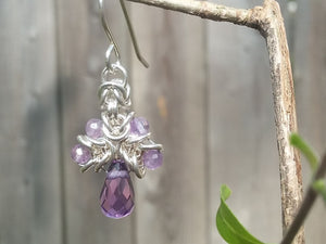 Amethyst Sterling Silver Byzantine Drop Earrings - crystalsbysabeads.com