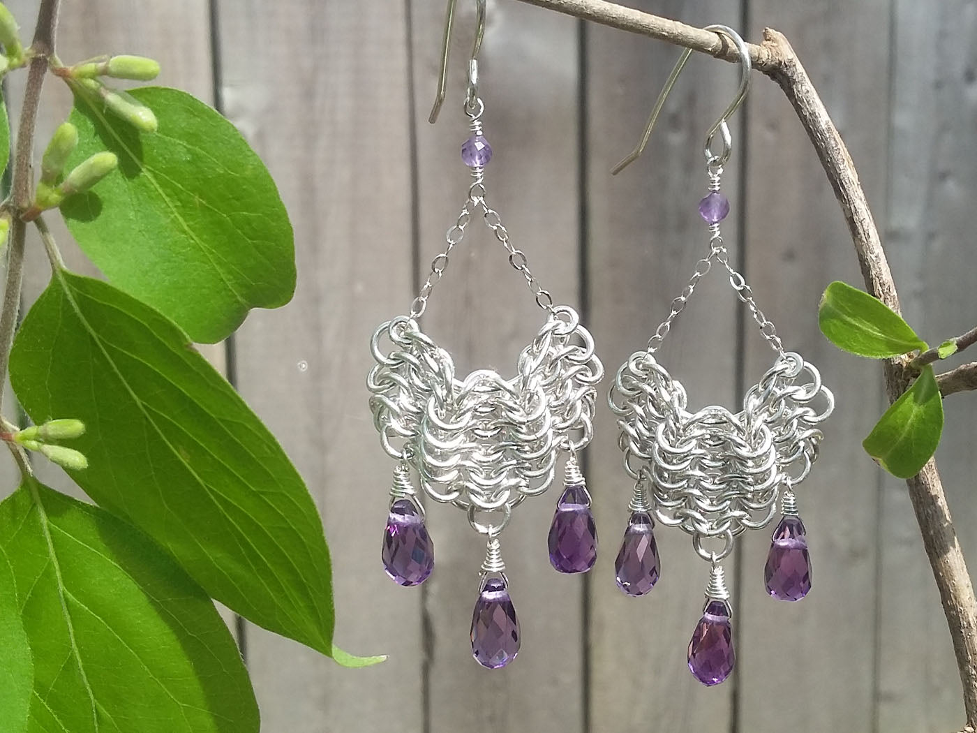 Amethyst Sterling Silver Draped Earrings - crystalsbysabeads.com
