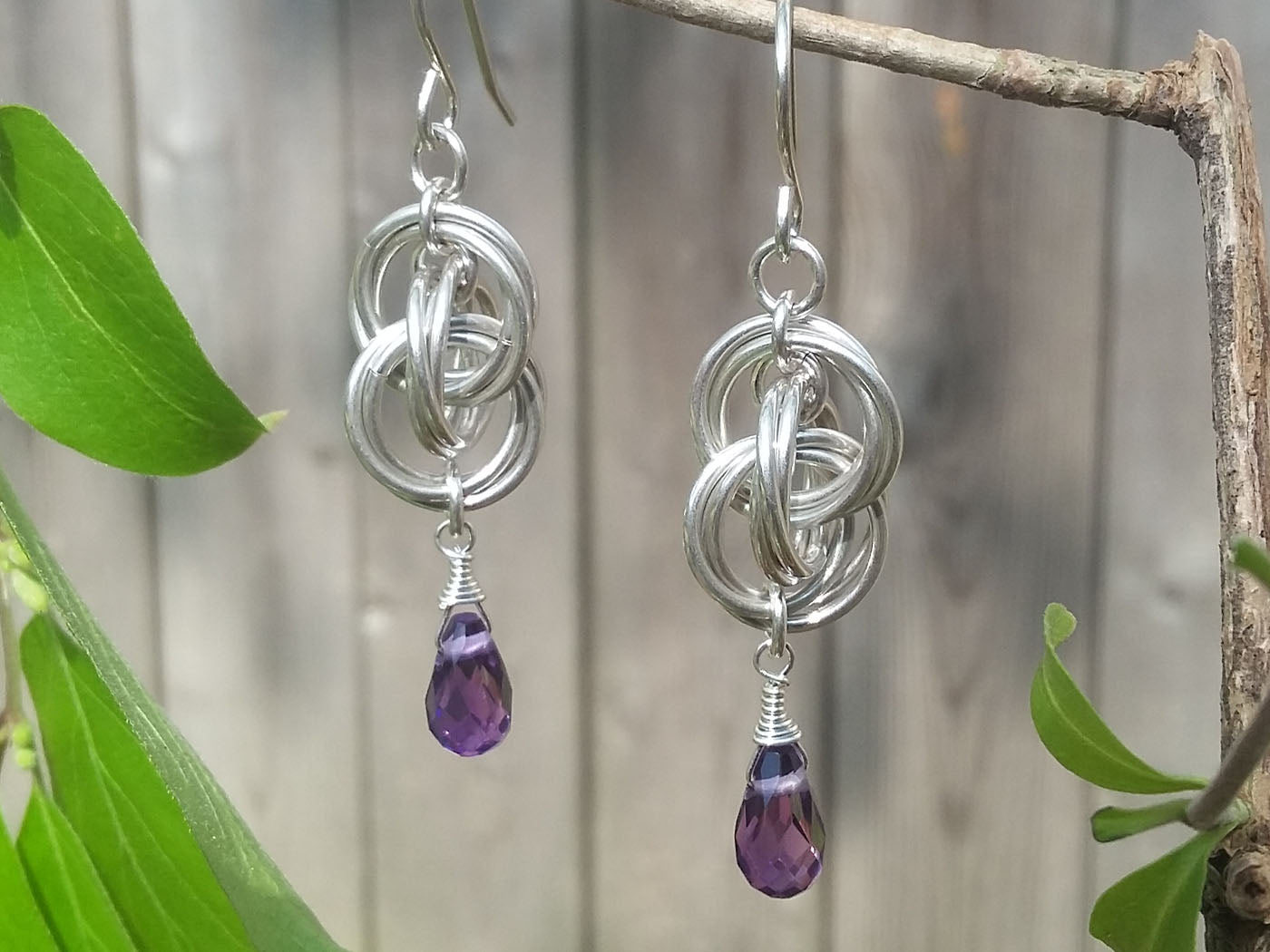 Amethyst Sterling Silver Spiral Twist Earrings - crystalsbysabeads.com