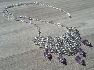 Amethyst Sterling Silver Draped Bib Necklace - crystalsbysabeads.com