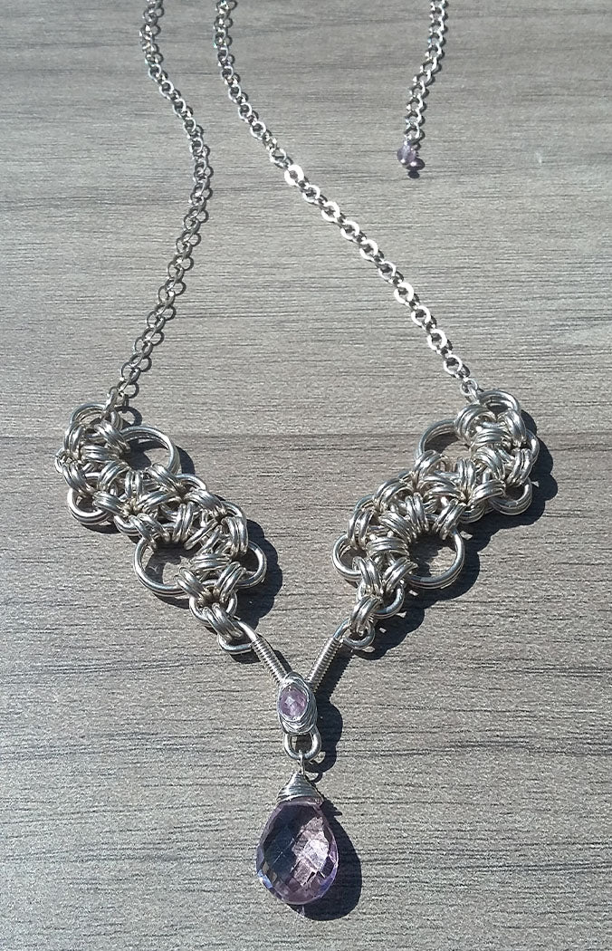 Amethyst Sterling Silver Stepping Stone Necklace - crystalsbysabeads.com