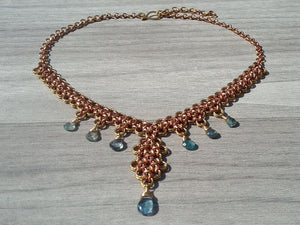 Brass & Copper Blue Zircon Collar Necklace feat. by Regan - crystalsbysabeads.com