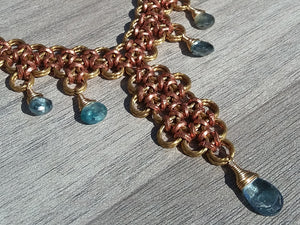Brass & Copper Blue Zircon Collar Necklace - crystalsbysabeads.com