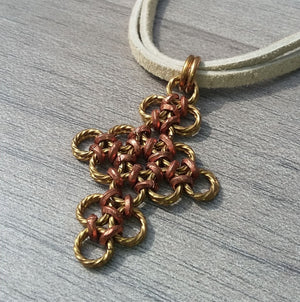 Brass & Copper Cross Pendant Suede Necklace - crystalsbysabeads.com