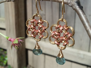 Brass & Copper Blue, Zircon Flower Earrings - crystalsbysabeads.com