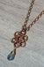 Brass & Copper Blue, Zircon Flower Pendant Necklace - crystalsbysabeads.com