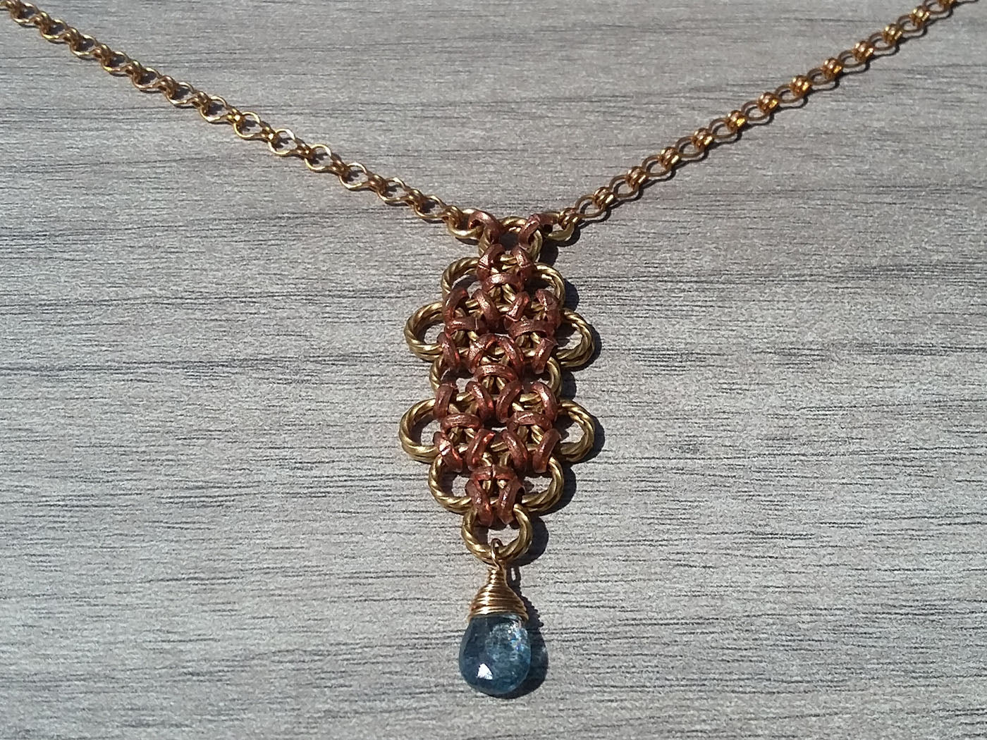 Brass & Copper Blue, Zircon Long Pendant Necklace - crystalsbysabeads.com