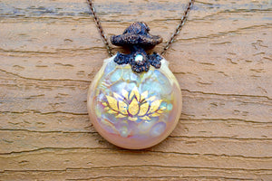 Electroformed Mushroom on Glass Pendant - crystalsbysabeads.com