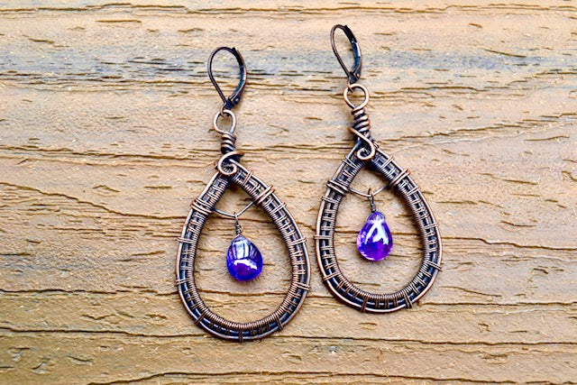 Wire Wrapped Amethyst Teardrop Earring and Pendant Set - crystalsbysabeads.com