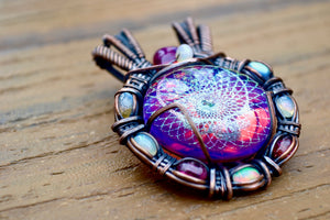 Wire Wrapped Grateful Dead Pendant - crystalsbysabeads.com
