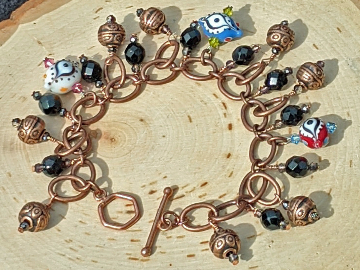 Eye in the Sky Copper Bead and Glass Eye Charm Bracelet - crystalsbysabeads.com