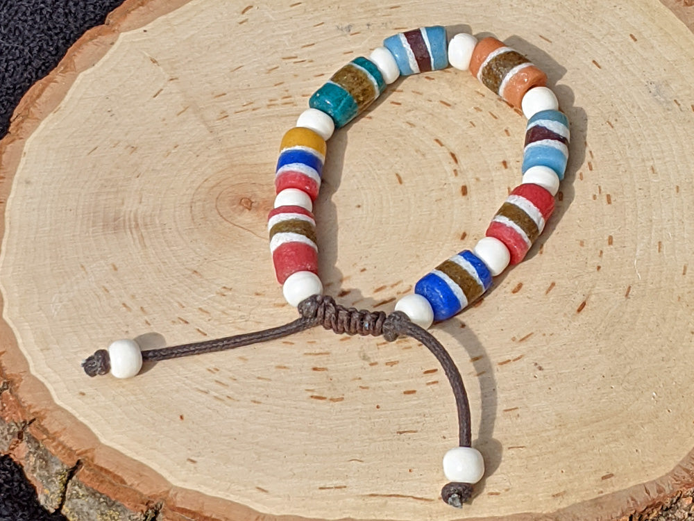 Multi-colored Striped Sandcast (Medium) - crystalsbysabeads.com