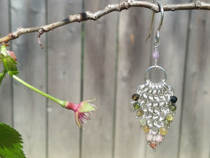 Sterling Silver & Watermelon Tourmaline 4 in 1 Earrings - crystalsbysabeads.com