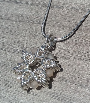 Sterling Silver & Moonstone Byzantine Flower Pendant Necklace - crystalsbysabeads.com