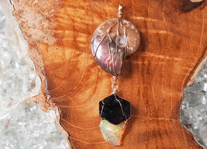 Ammolite Fossil & Opal Pendant - crystalsbysabeads.com