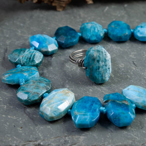 Apatite Faceted Oval Nugget Ring - crystalsbysabeads.com